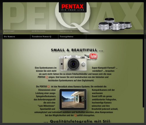 PENTAX Q-Mikroseite (Screenshot)